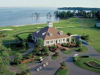 Aerial clubhouse water and golf at Albemarle Plantation in Hertford, North Carolina