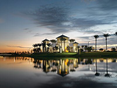 Waterfront clubhouse at Minto TownPark in Port Saint Lucie, Florida