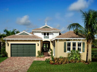 House exterior and lawn at Minto Olympia in Wellington Florida