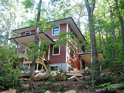 House exterior at Hickory Nut Forest Eco-Community in Asheville, North Carolina