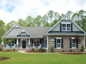 Two story house exterior at Logan Homes in Leland, North Carolina