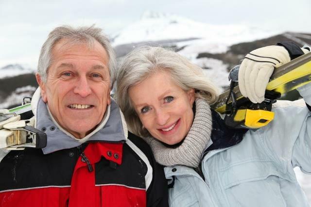 Portrait of senior couple at the mountain