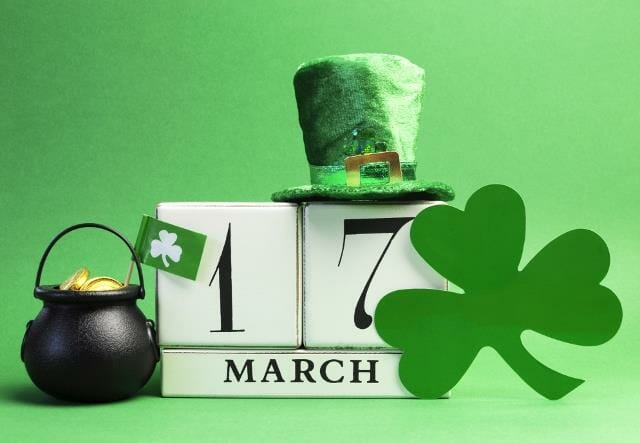 White block calendar for St Patrick's Day, March 17.
