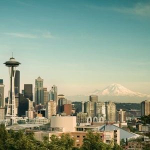Retire to Washington State - Seattle Cityscape/Mt. Rainier