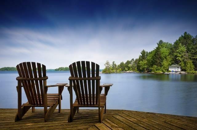 Muskoka chairs on deck