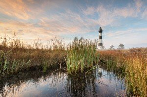 Bodie Island Lighthouse stands 156 feet tall