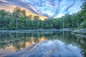 River reflection of clouds over wide angle.