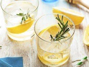 Rosemary lemonade summer cold cocktail drink
