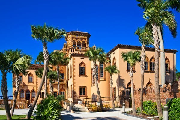 Ca' d'Zan. The palatial mansion of John and Mable Ringling. Sarasota, Florida. This landmark home is located at the Ringling Museum of Art. Florida travel destination.