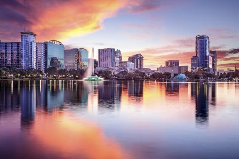 Orlando, Florida, USA downtown city skyline from Eola Park.
