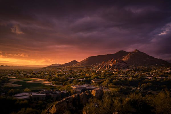 Late golden evening sunset glowing over Arizona Desert landscape