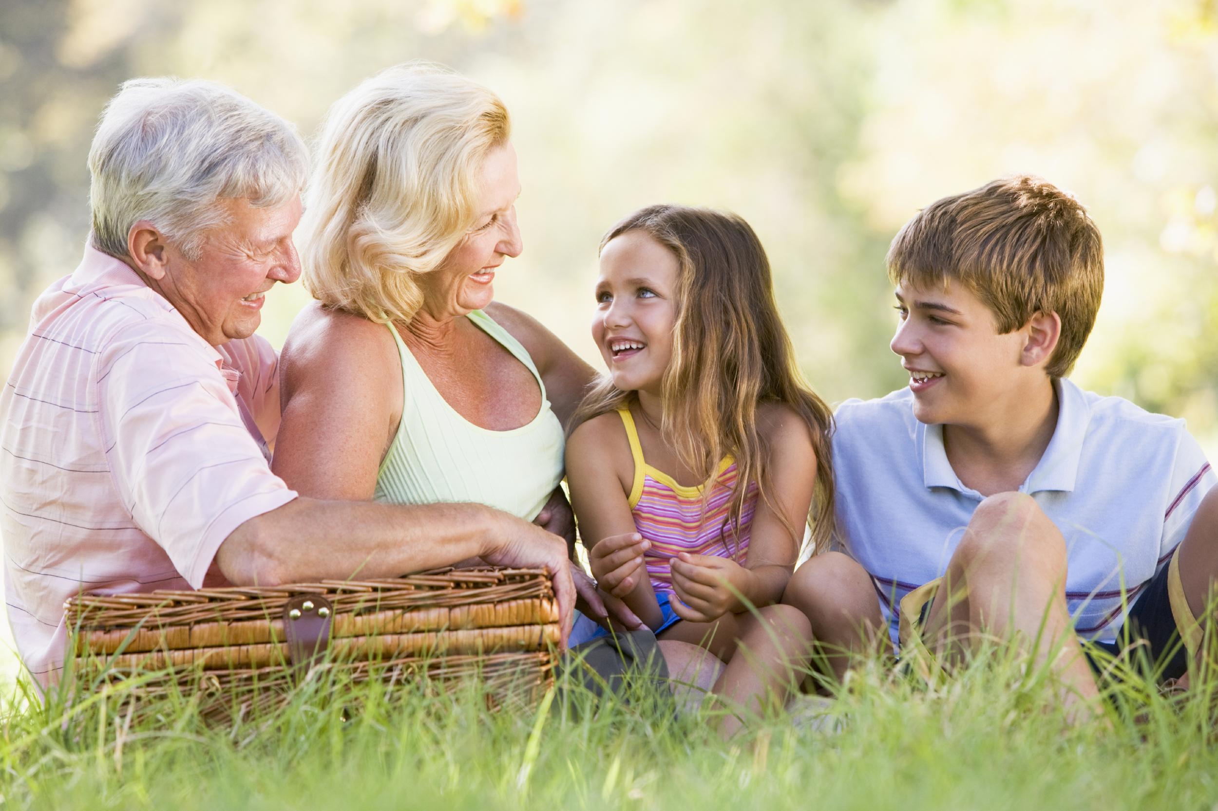 Callawassie Island Grandparents having a picnic with grandchildren