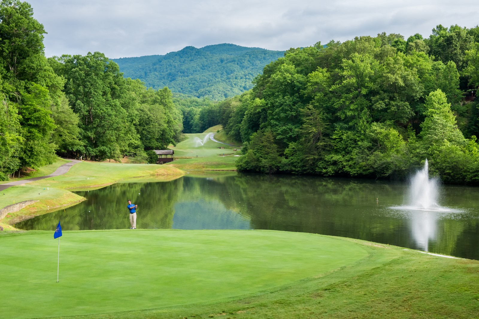 The 16th hole at Rumbling Bald Resort's Bald Mountain Golf Course. This hole was the filming location for one of the scenes in the movie Dirty Dancing.