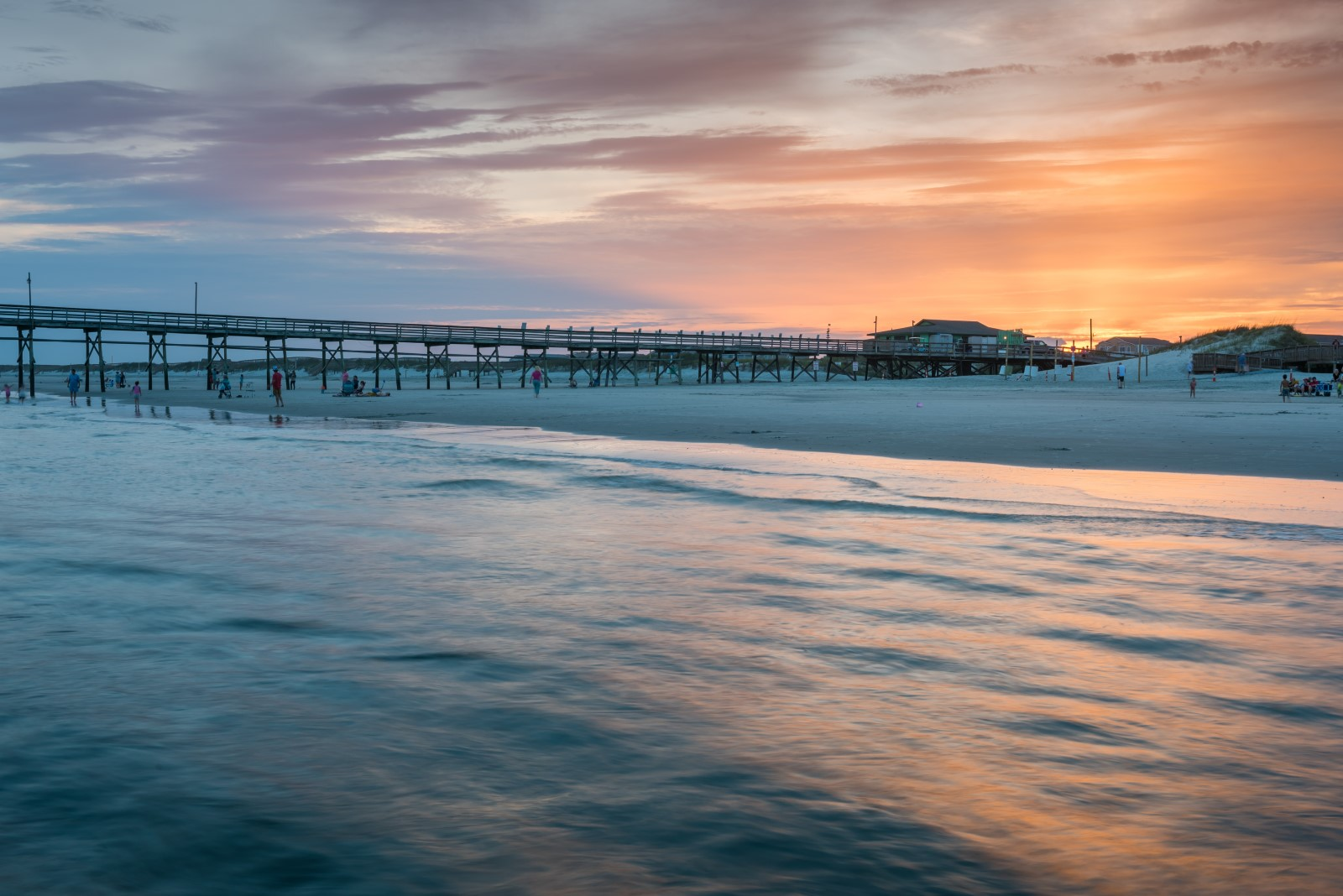 Sunset at the fishing pier at Sunset Beach.