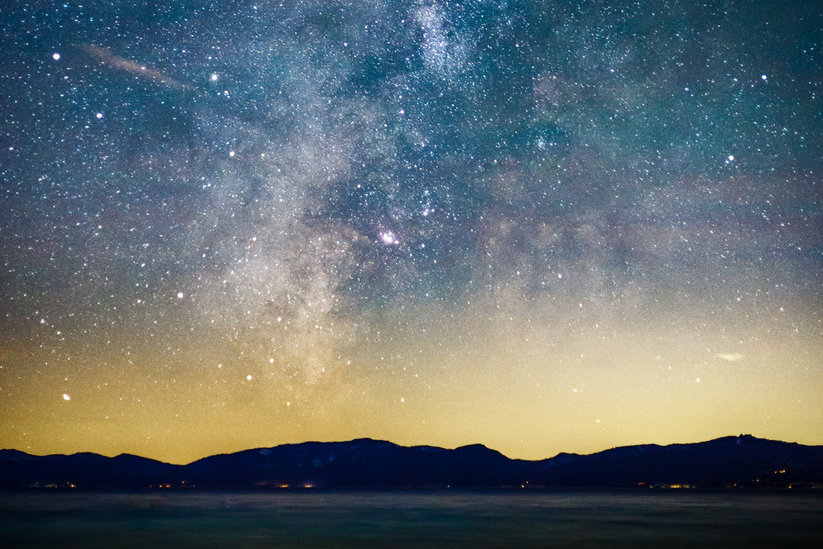 Starry Night and Milky Way above the Sierra Nevada Mountains and Lake Tahoe, California